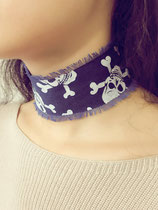 Collier Choker denim têtes