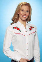 Chemise cowgirl Ely roses rouges