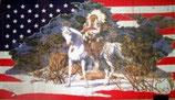 Drapeau Usa Indien sur cheval