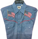 Chemise Ely patriotique Chambray western