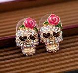 Boucle d'oreilles tête de mort Skull et rose