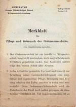 Merkblatt für Pflege und Gebrauch der Ordonnanzschuhe