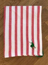 Handtuch Halbleinen rot-weiß gestreift