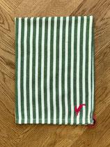 Handtuch Baumwolle grün-weiß gestreift