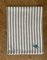 Handtuch Baumwolle grau-weiß gestreift