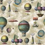 Baumwollcanvas mit aufgedruckten Heißluftballons 0,25m