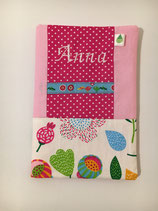 U-Heft-Hülle pink/Blumen mit WUNSCHNAMEN