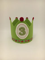 Geburtstagskrone Filz grün/Äpfel&Pilze