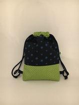 Rucksack dunkelblau Sterne/grün Pünktchen