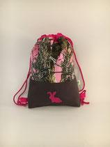 Rucksack/Turnbeutel klein - Realtree pink Häschen