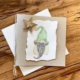 Grusskarte Wichtel - grüne Mütze