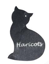 Ardoise chat debout 13 cm x 9 cm potager gravée du nom de votre souhait