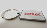 marquee club square metal key-ring-Silver&Red