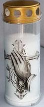 """Grabkerze """"Betende Hände mit Kreuz"""""""