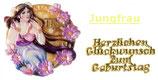 """Jungfrau inkl. Schriftzug """"Herzlichen Glückwunsch ...."""""""