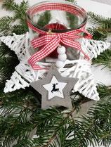 Holzstern mit Windlichtglas - Weihnachten