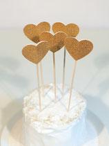 """Cake-Toppers """"goldene Herzen"""" (5er Set)"""