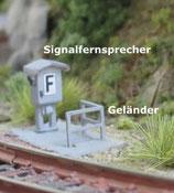 N-Signalfernsprecher nach Vorbild der DB mit Geländer - 3er Packung