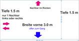 "4.5 m2 Eck-Standfläche 3.0 x 1.5 m (im Plan ""rosa"")"