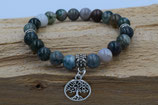 Moos Achat Stein Armband mit Baum des Lebens
