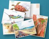 Lot de 5 cartes postales faune/flore Isalo
