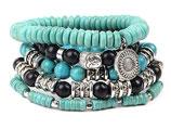 Ibiza charm bracelet - Black/Turquoise