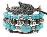 Ibiza charm bracelet - Brown/Turquoise