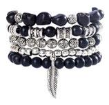 Ibiza Charm Bracelet - Silver Black