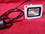10 Watt LED Strahler mit Stecker Baustrahler Kaltweiß, Gehäuse grau oder Warmweiß, Gehäuse schwarz