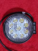 LED Strahler Arbeitsscheinwerfer 27 Watt  rund   12/24 Volt