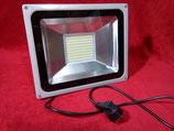 100 Watt LED Strahler mit Stecker  Kaltweiß, Gehäuse grau oder Warmweiß, Gehäuse schwarz
