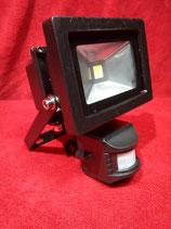 10 Watt LED Strahler mit Bewegungsmelder Kaltweiß, Gehäuse schwarz