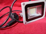 20 Watt LED Strahler mit Stecker Baustrahler Kaltweiß, Gehäuse grau oder Warmweiß, Gehäuse schwarz