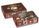 Becherset Kaffee inkl. Blechdose und Untersetzer
