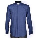 ロザリオ在庫品 イタリア 聖職者のシャツ 長袖  紺 首回り37㎝ GRAZIANI