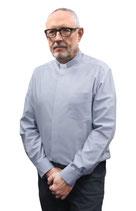 SLABBINCK 事務服 411 オックスフォード生地のブルー聖職者シャツ