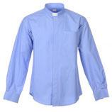 ロザリオ在庫品 イタリア 聖職者のシャツ 長袖 ライトブルー コットン100%