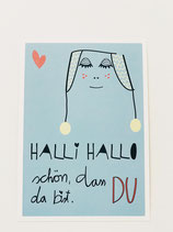 "Glückwunschkarte ""HALLI HALLO"" blau"