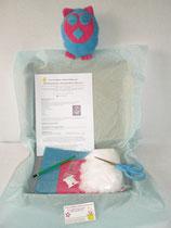 Kit doudou hibou bleu et rose