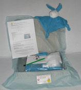 Kit doudou lapin bleu et blanc