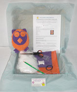 Kit doudou hibou orange et violet