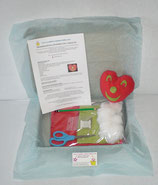 Kit doudou coeur rouge et vert