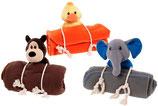 Decke mit Plüschspielzeug