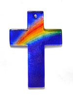 Glaskreuz mit Regenbogen 15 cm Nr. 23