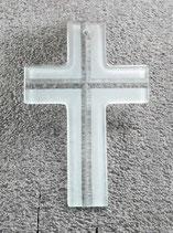 Modernes Wandkreuz 15 cm transparent rückseitig geschliffen