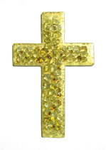 Kreuz mit echtem Blattgold und Glaskieseln 25 cm nr. 2