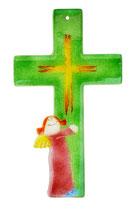 Glaskreuz für Kinder mit Engel, grün,  24 cm Nr. 11