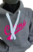 Hoodie Grau mit cetoni motorsport Logo in pink