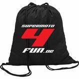 """Rucksack mit Kordelzug mit farbigem Siebdruck """"supermoto4fun"""""""