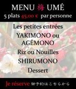 Menu Omakasé 梅 Umé de 5 plats